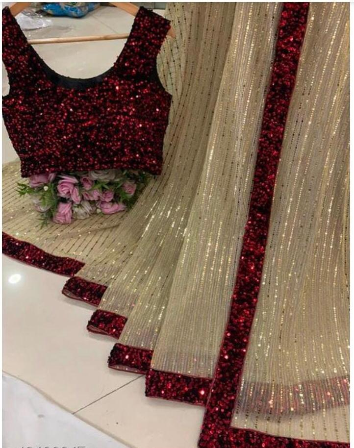 Red Georgette Sequins With Embroidered Work New Party Sarees Online Shopping