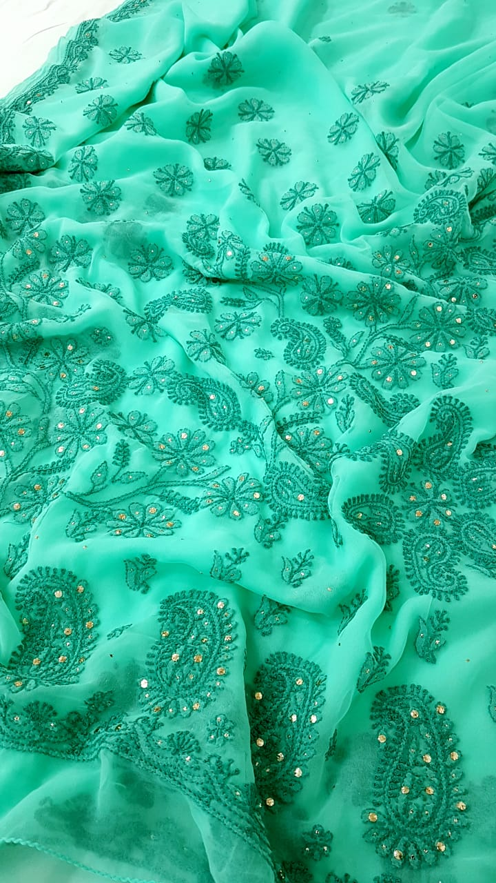 Mint Georgette Saree With Chikankari Work Online Shopping