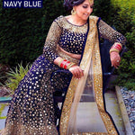 Navy Blue Velvet Embroidered With Mirror Work Latest Lehenga Choli Online Buy