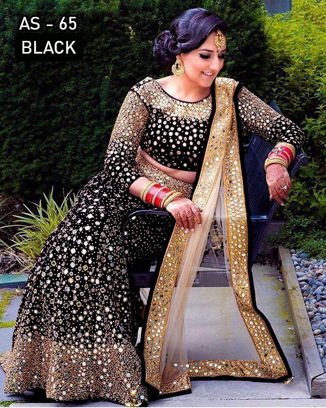 Black Velvet Embroidered With Mirror Work Latest Lehenga Choli Online Buy