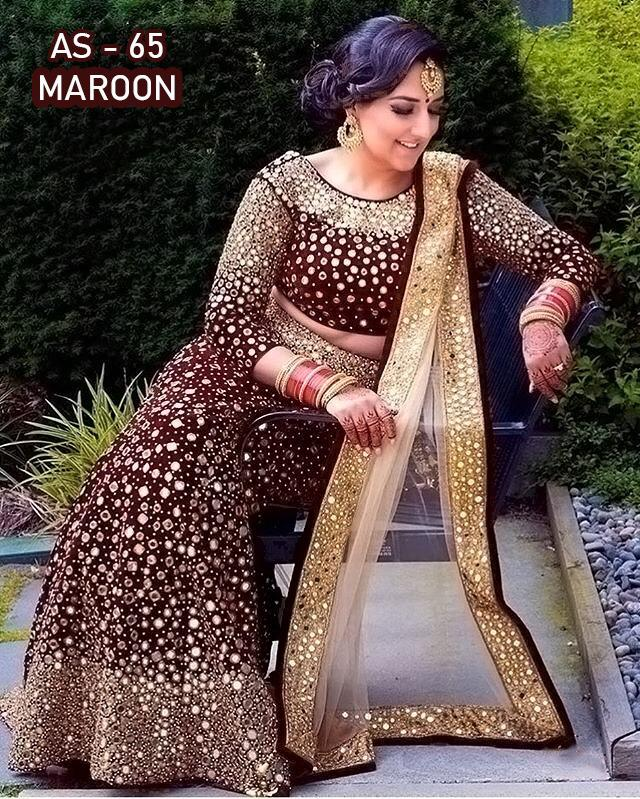Maroon Velvet Embroidered With Mirror Work Latest Lehenga Choli Online Buy