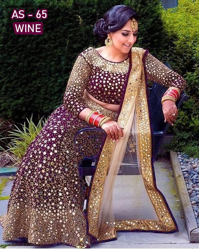 Wine Velvet Embroidered With Mirror Work Latest Lehenga Choli Online Buy