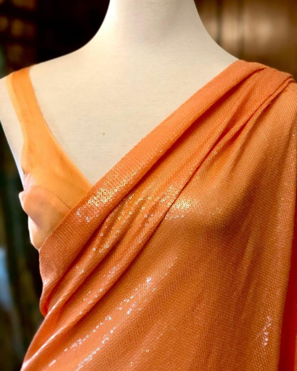 Orange Georgette Sequins Work New Party Sarees Online Shopping