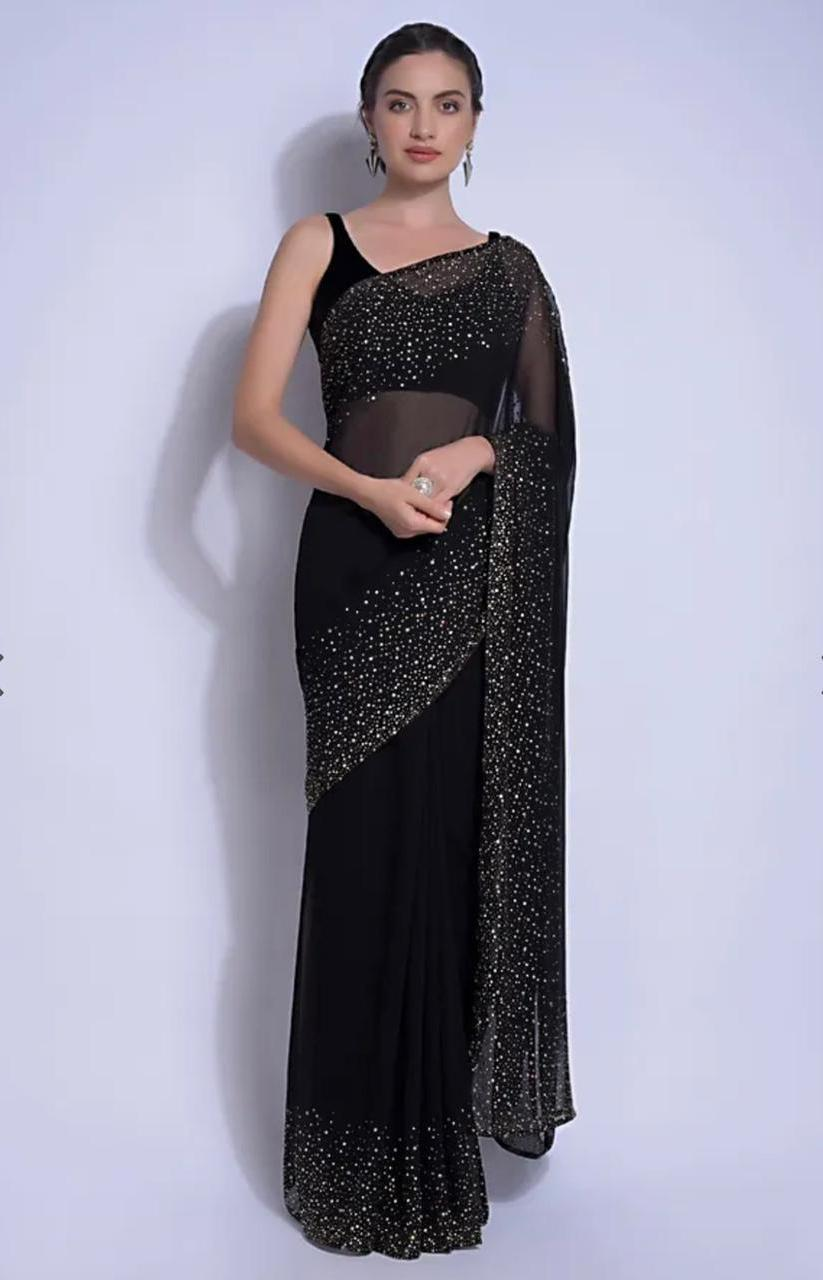 Black Georgette Saree With Crystal Work Online Shopping