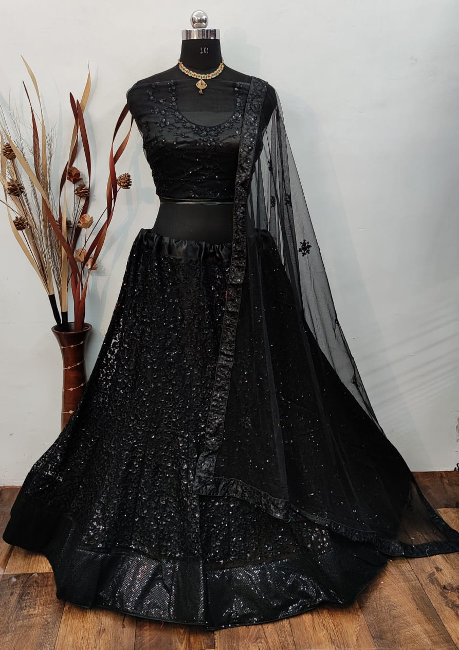 Black Net Silk With Embroidery Fancy Lehenga Choli Online