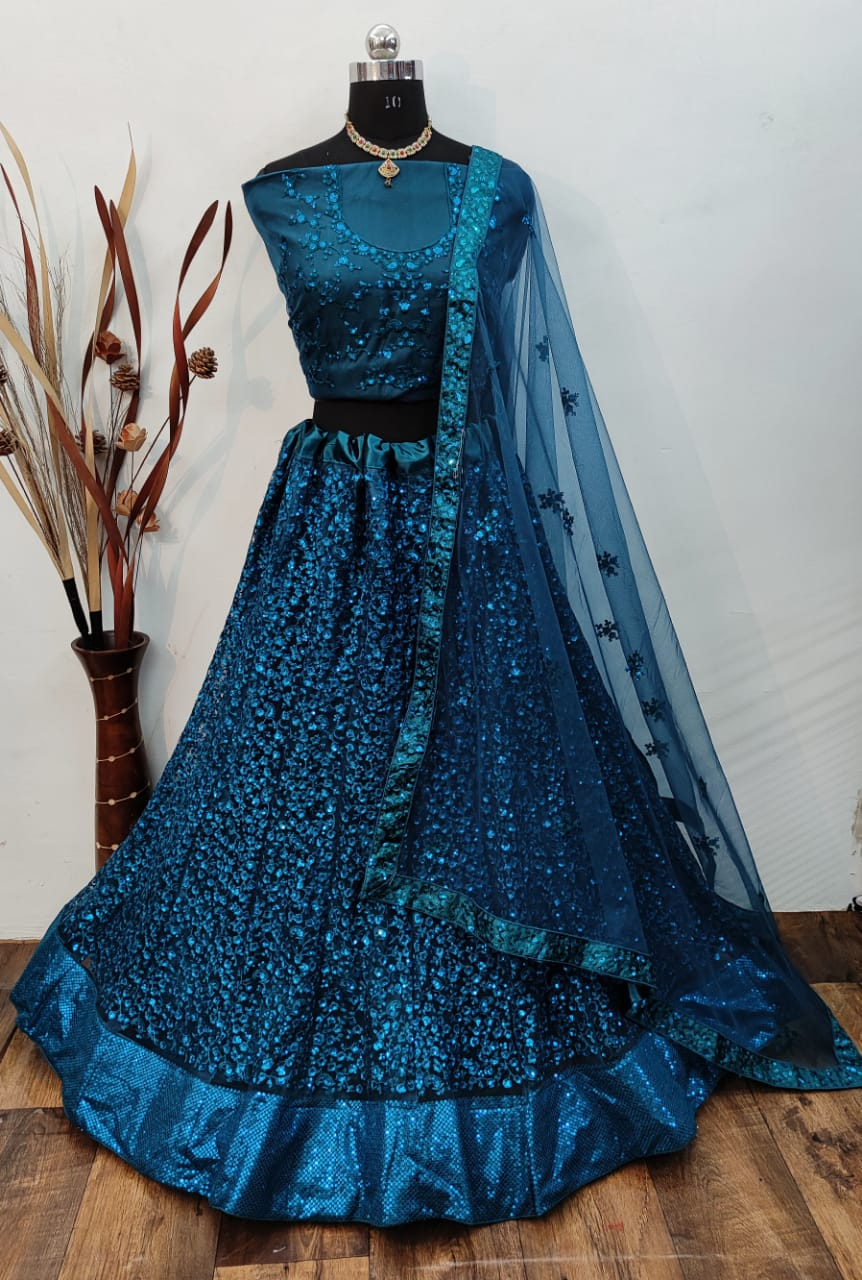 Teal Blue Net Silk With Embroidery Fancy Lehenga Choli Online
