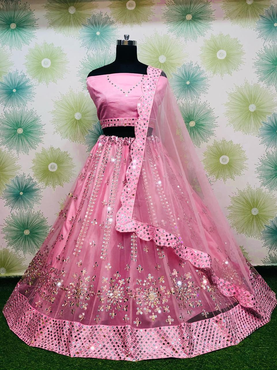 Pink Net With Mirror Work Embroidery Fancy Lehenga Choli Online