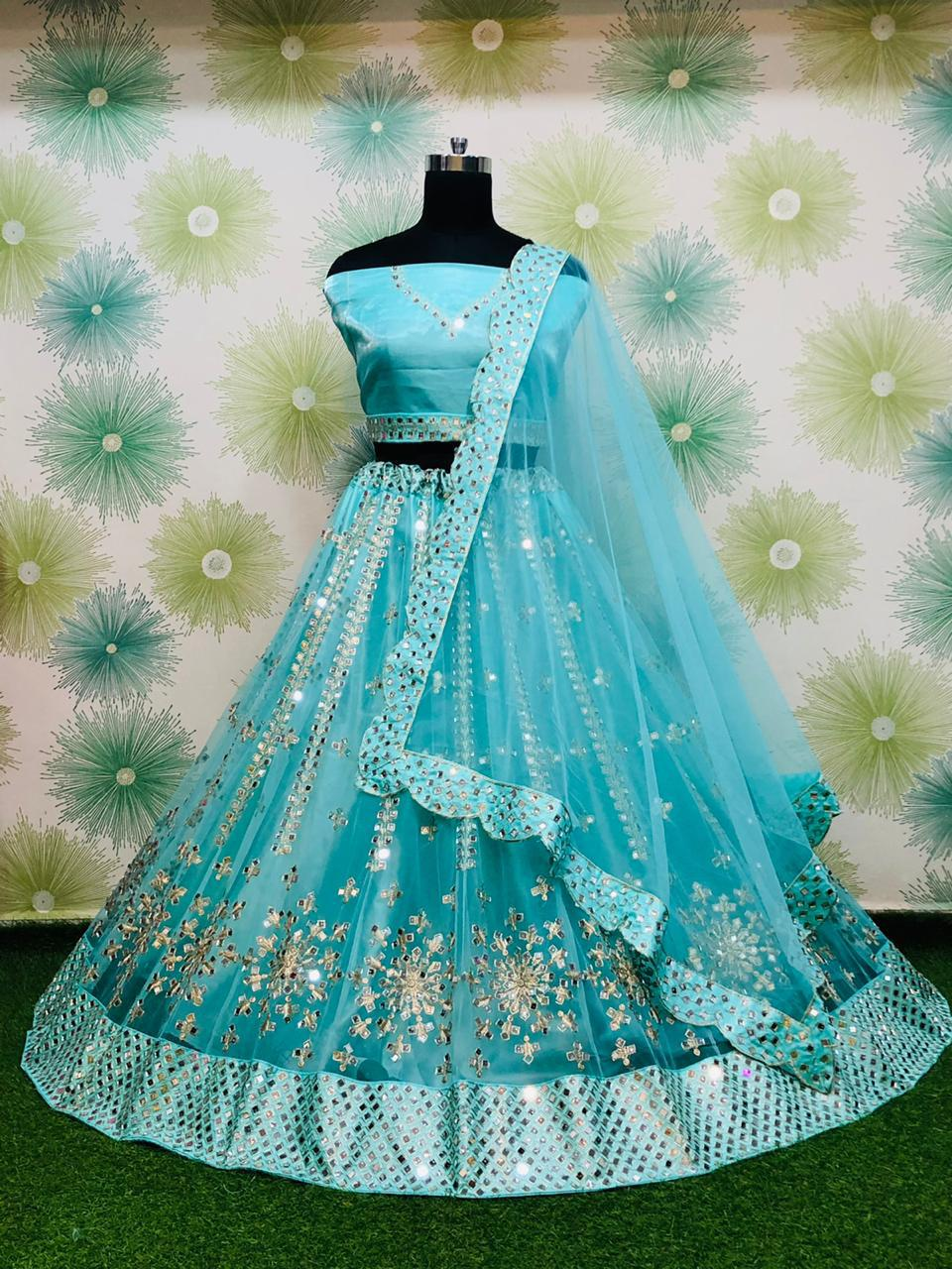 Blue Net With Mirror Work Embroidery Fancy Lehenga Choli Online
