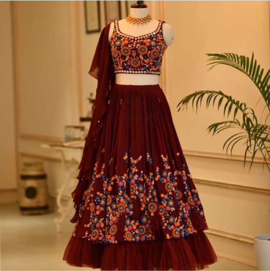 Maroon Georgette Net Embroidered With Thread Work  New Party Lehenga Choli