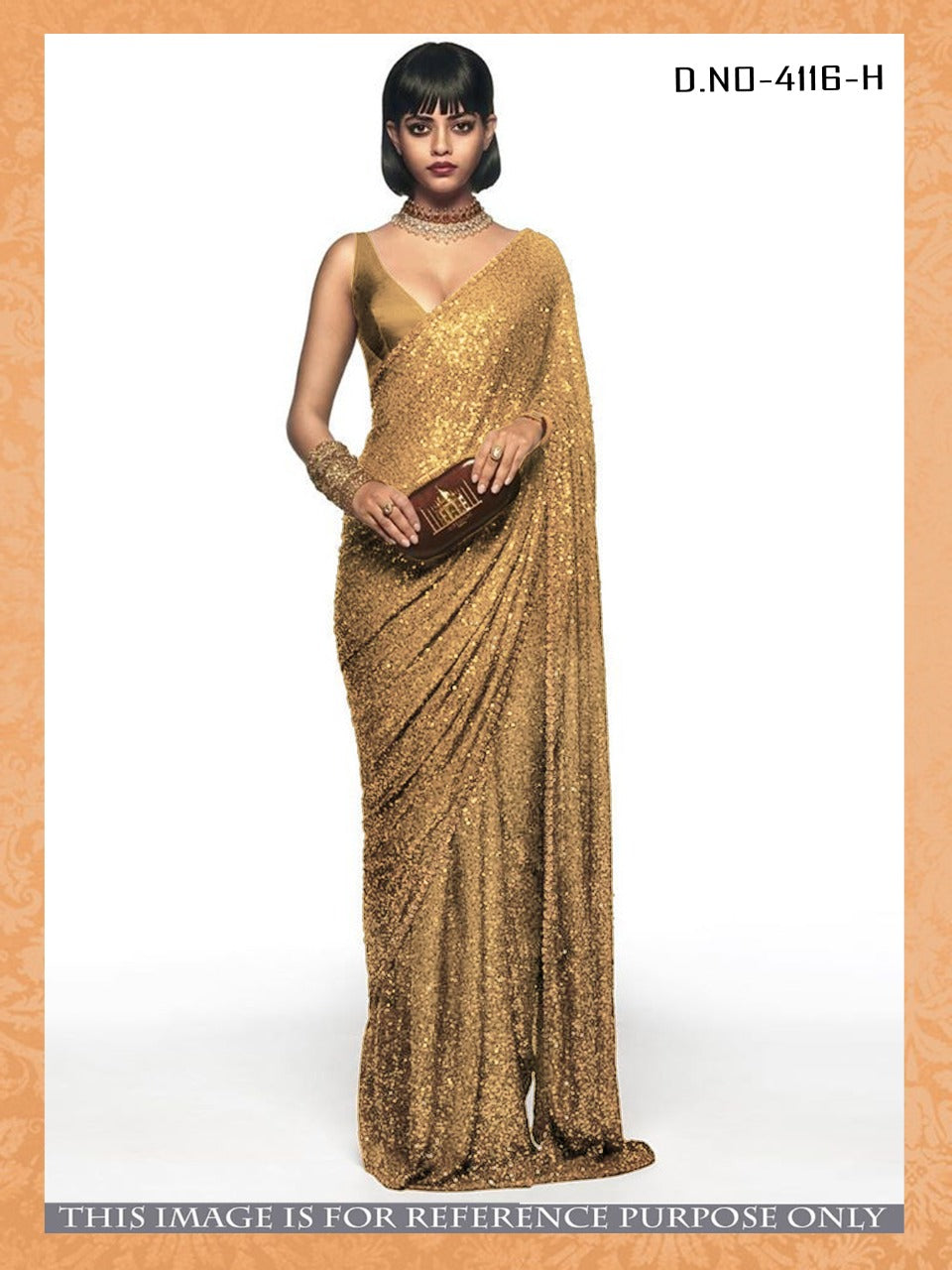 New Arrival High Quality Golden Georgette Sequins Fancy Ladies Sarees Buy Online