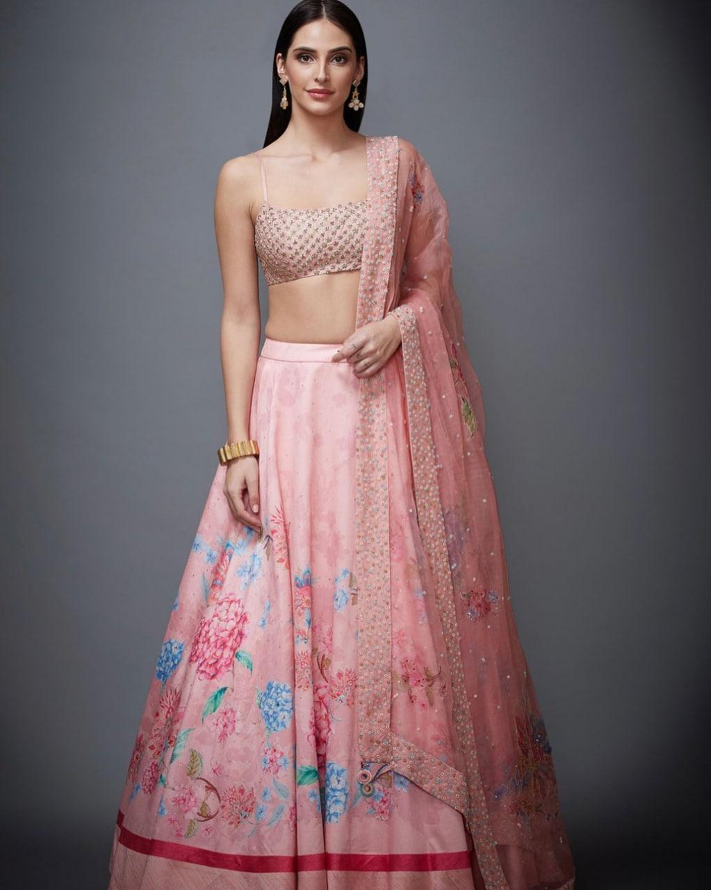 Lotus Pink Viscose Silk With Cancan Layered Latest Lehenga Choli Online Buy