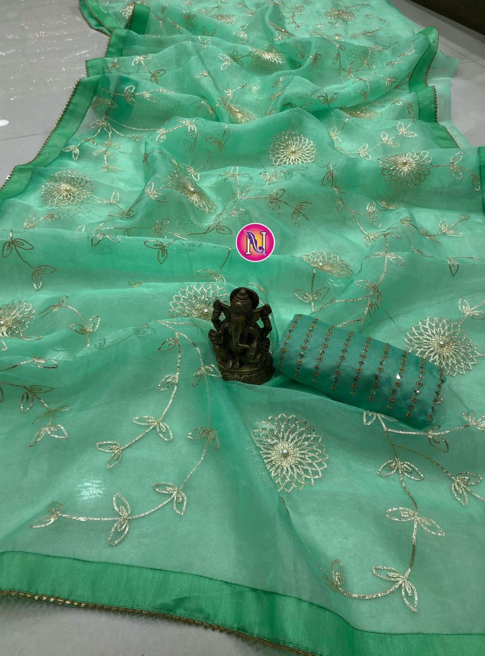 Green Organza Saree With Fancy Ribbon Work Online Shopping