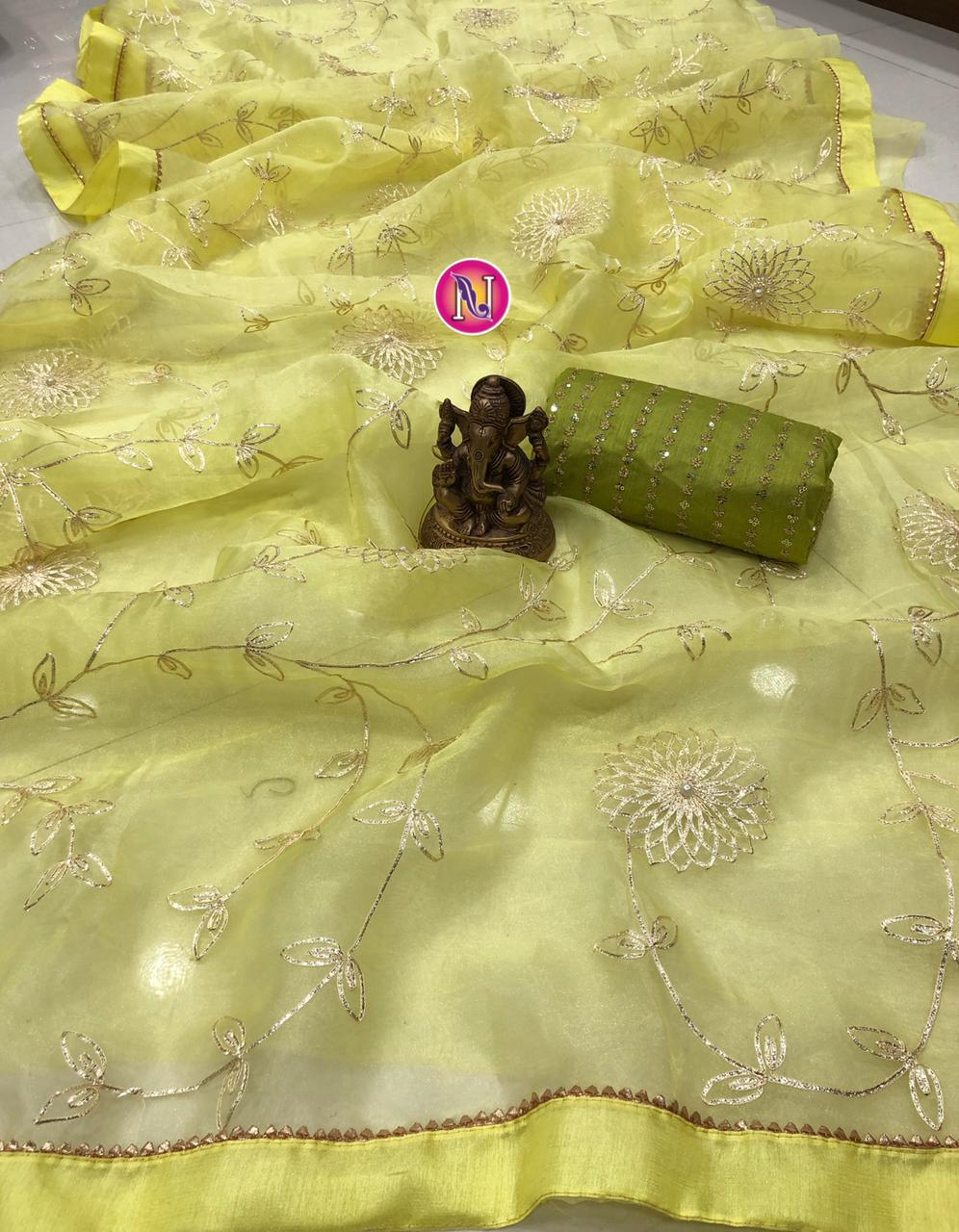 Lime Organza Saree With Fancy Ribbon Work Online Shopping