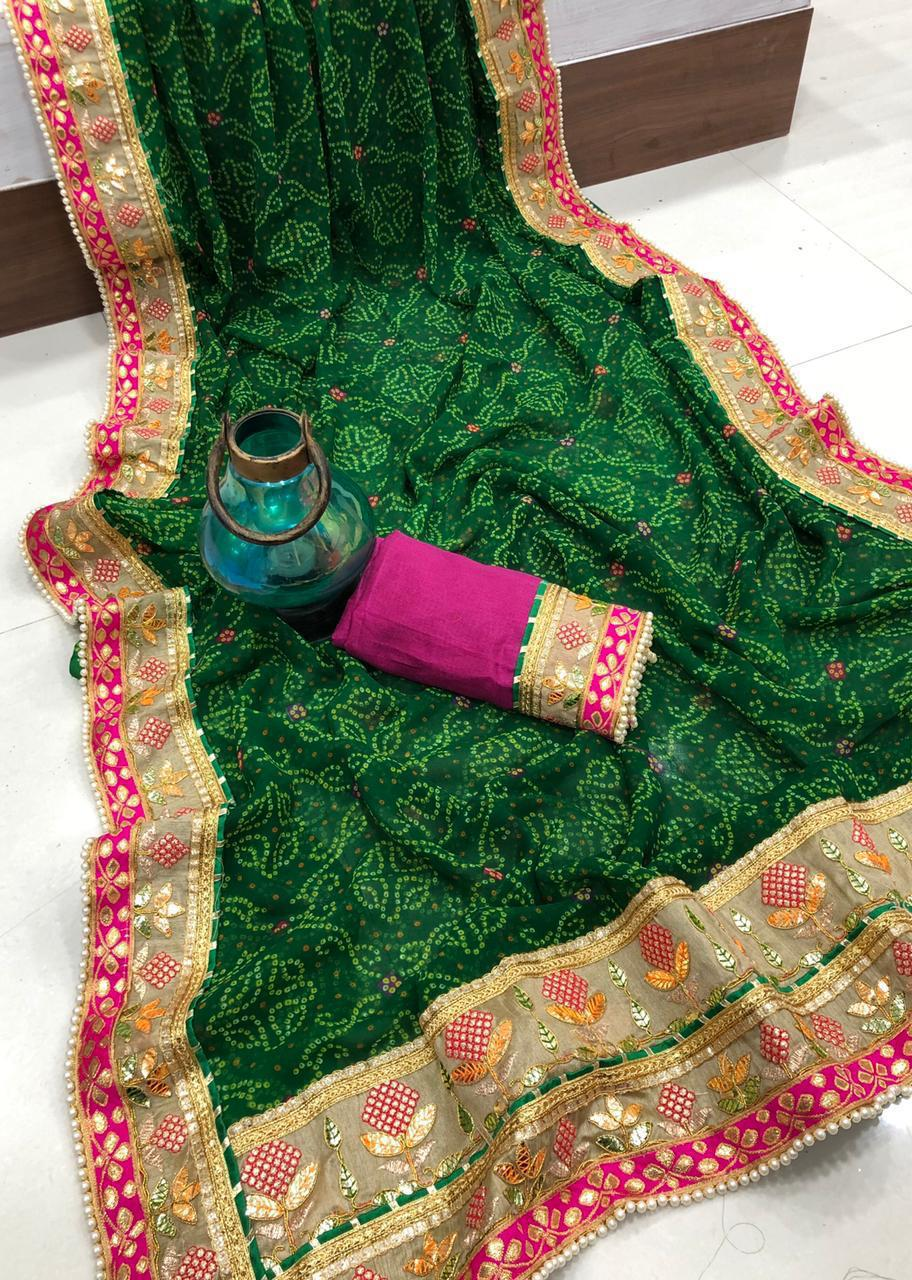 Georgette Bhandhej Saree With Foil Work Online Shopping