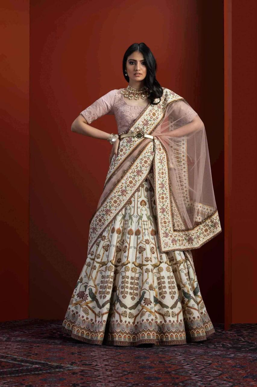 Peach Viscose Silk With Cancan Layered Latest Lehenga Choli Online Buy