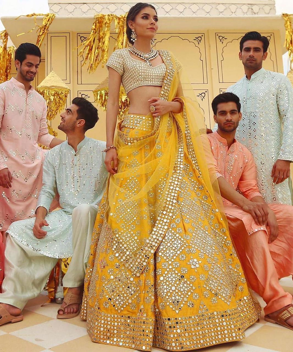 Mustard Yellow Silk With Paper Mirror Work Lehenga Choli India Online