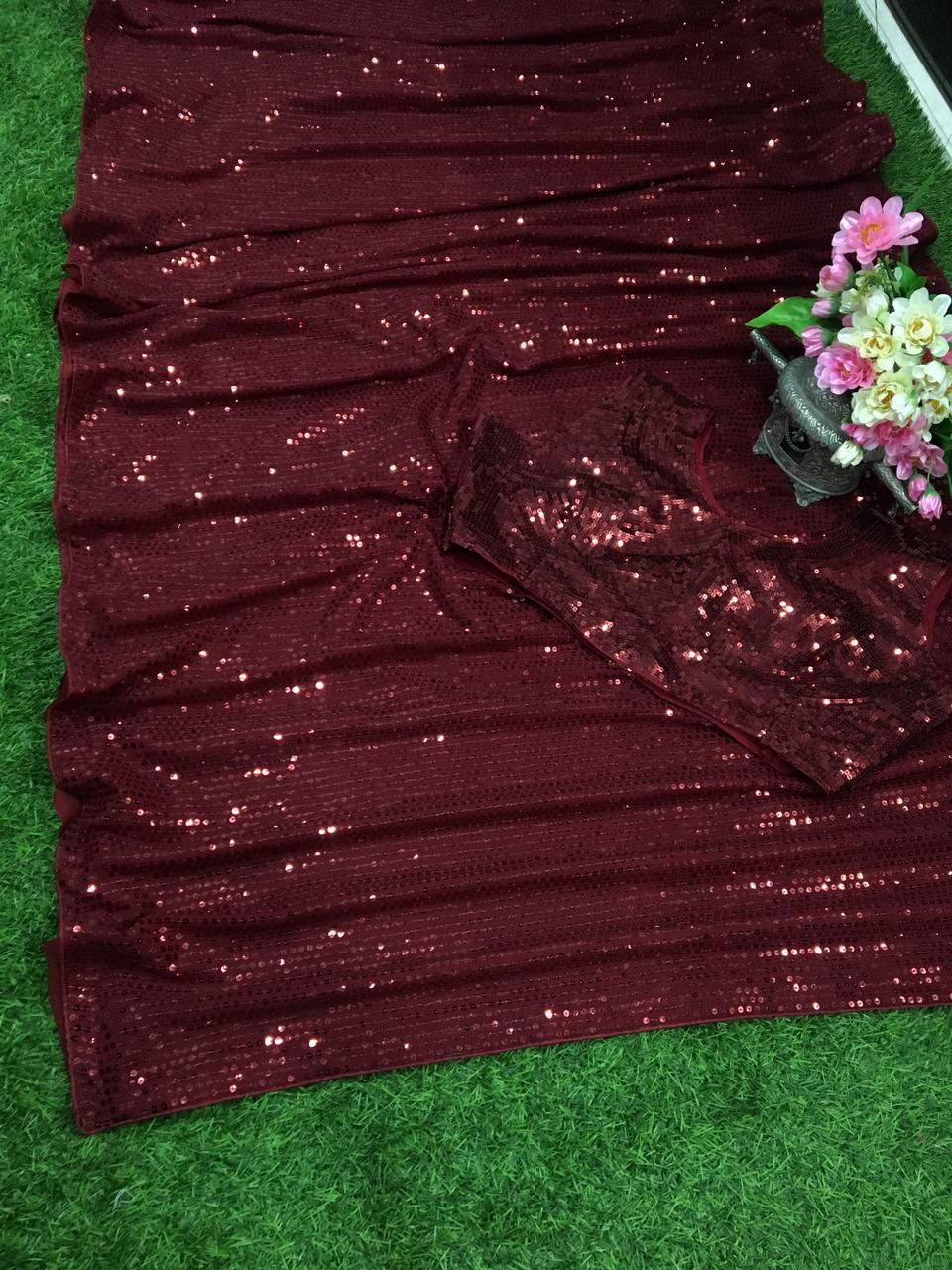 Dark Red Heavy Georgette Fancy Sequins Work New Party Sarees Online Shopping