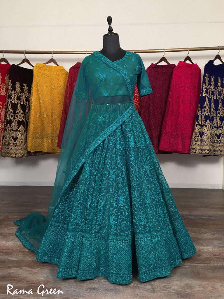 Rama Green Net With Glitter Zari Embroidery Fancy Lehenga Choli Online
