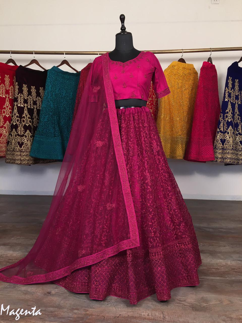 Magenta Net With Glitter Zari Embroidery Fancy Lehenga Choli Online