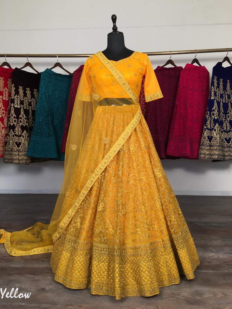 Yellow Net With Glitter Zari Embroidery Fancy Lehenga Choli Online