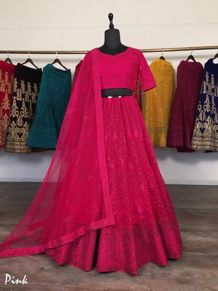 Pink Net With Glitter Zari Embroidery Fancy Lehenga Choli Online