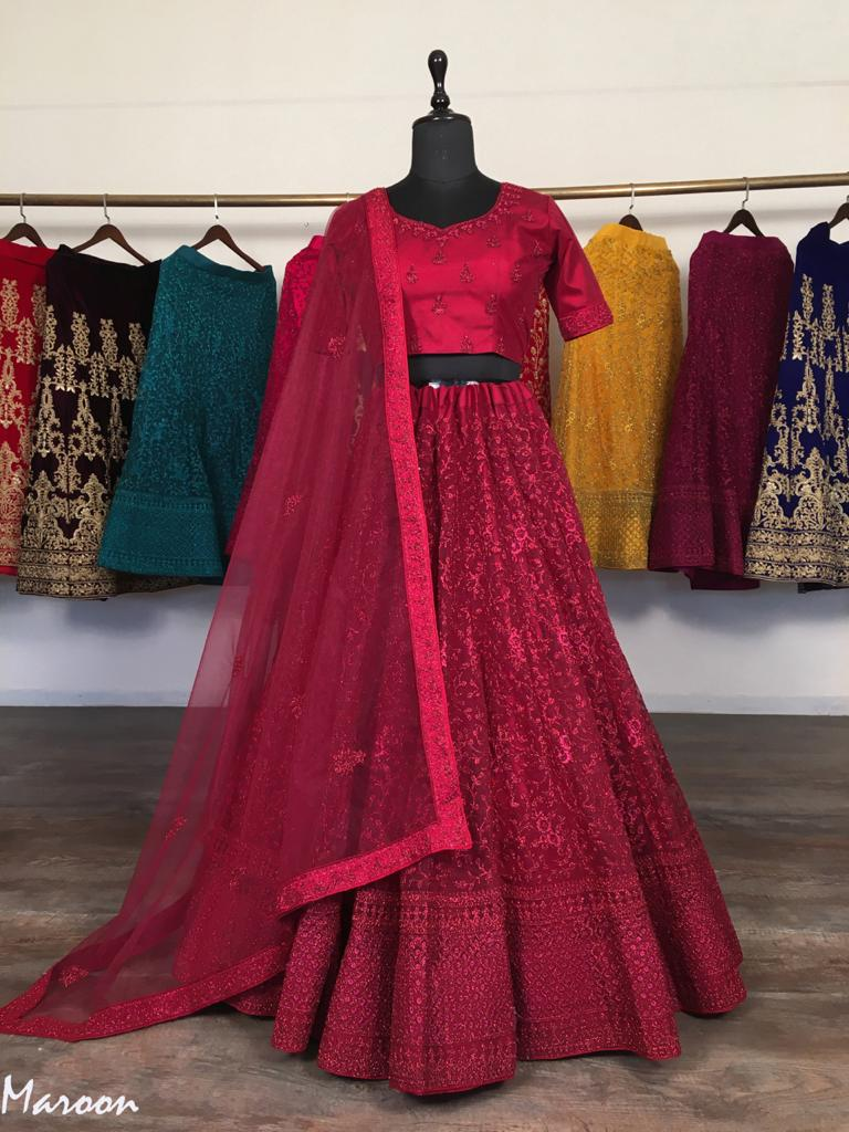 Maroon Net With Glitter Zari Embroidery Fancy Lehenga Choli Online