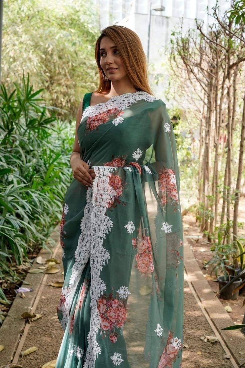 Army Green Georgette Saree With Digital Print Work Online Shopping