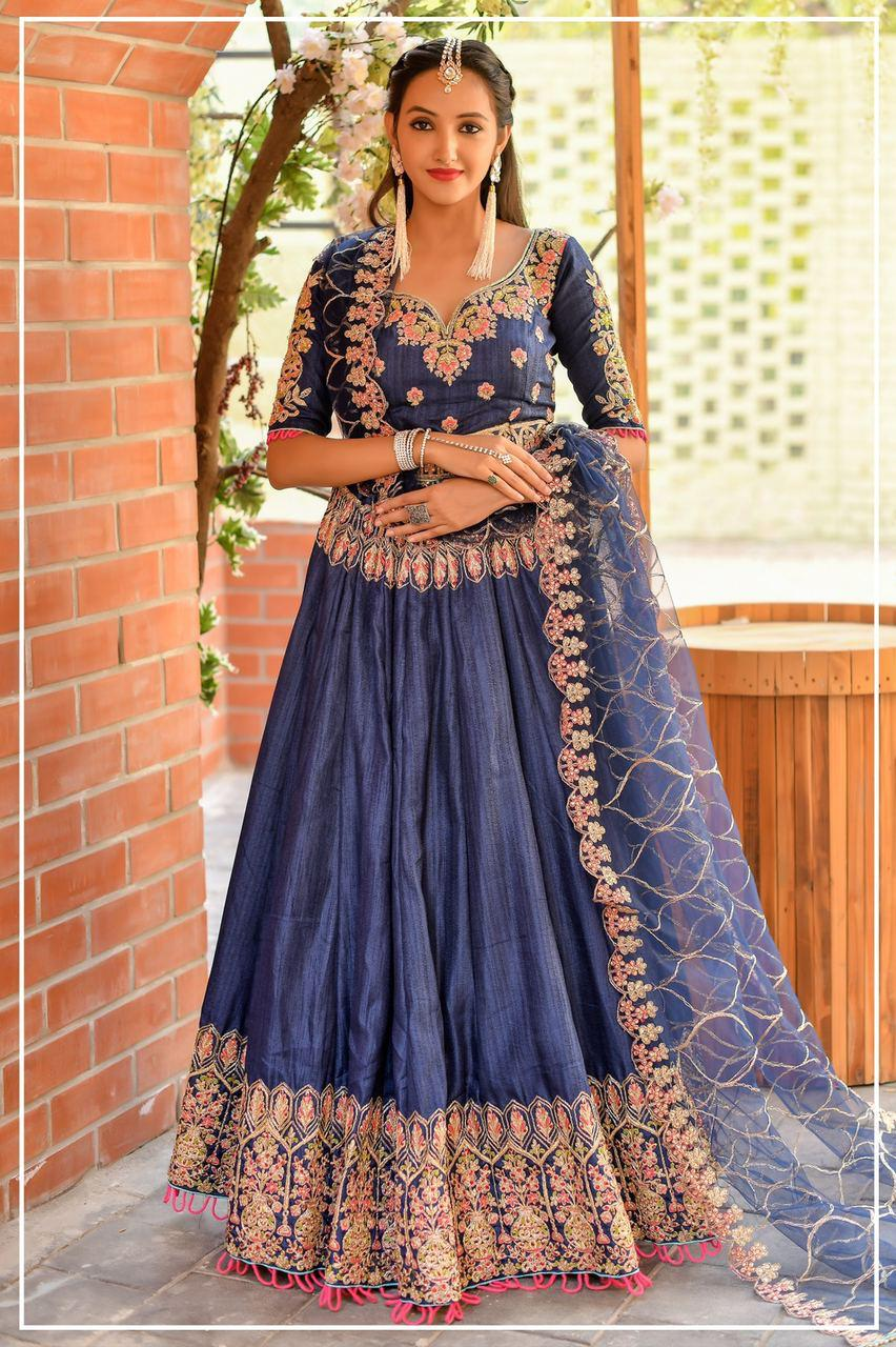 Chennai Silk Thread Embroidered Bridal Lehenga Online Shopping