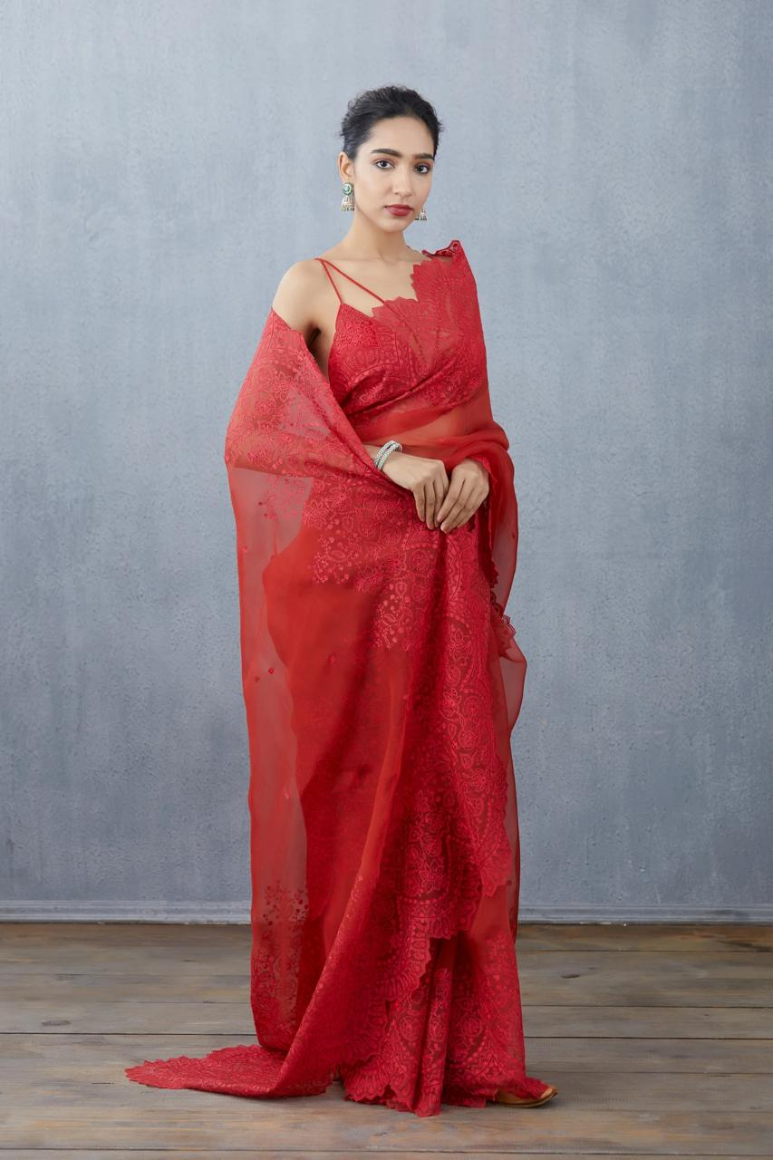 Red Organza Saree With Heavy Embroidery Work Online Shopping