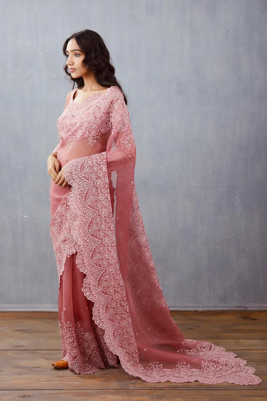 Peach Organza Saree With Heavy Embroidery Work Online Shopping