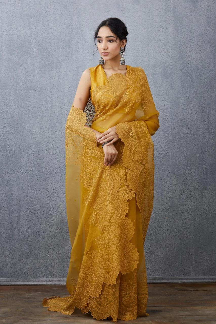 Mustrad Yellow Organza Saree With Heavy Embroidery Work Online Shopping