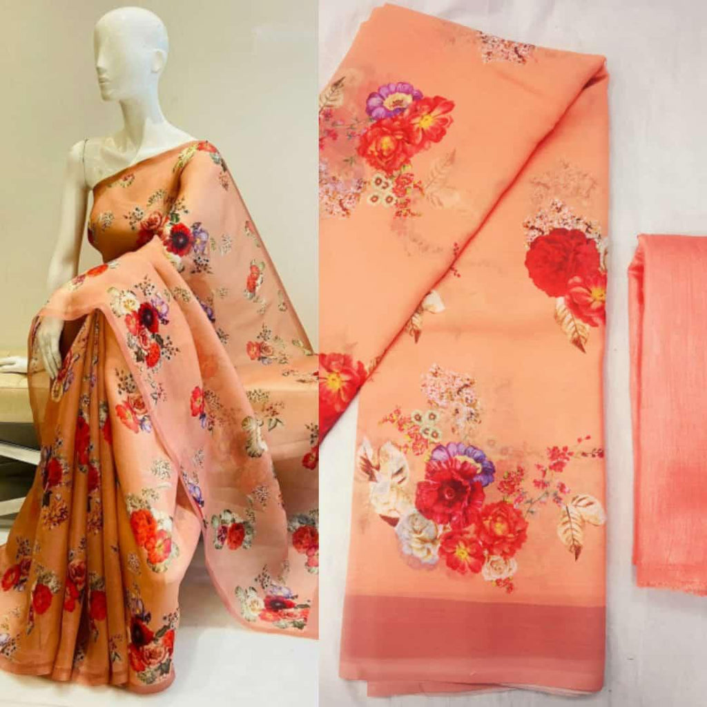 Peach Soft Georgette with digital print Work Online Shopping