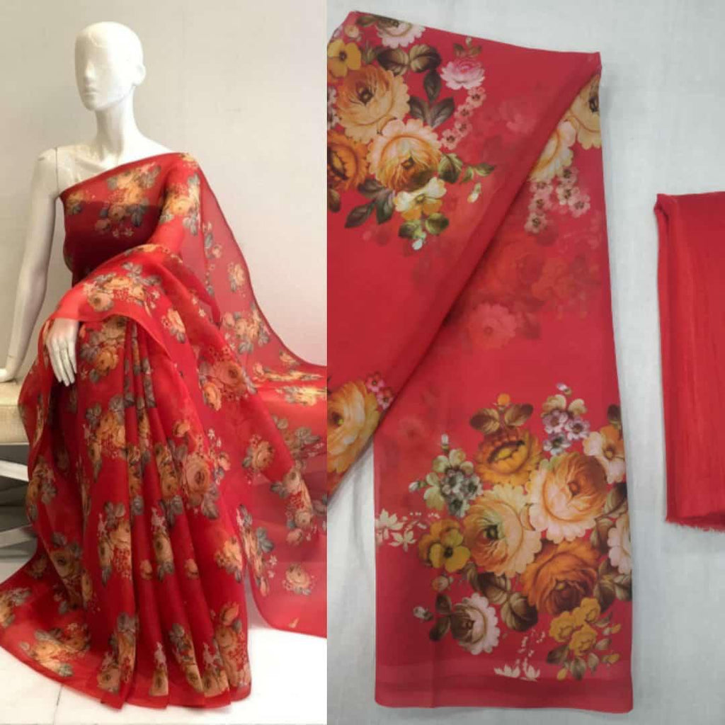 Red Soft Georgette Saree With Digital Print Work Online Shopping