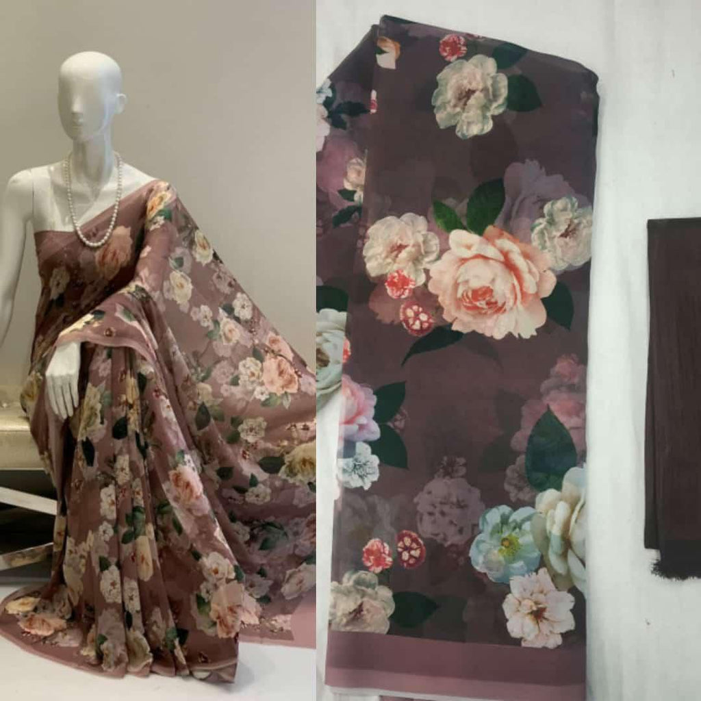 Brown Soft Georgette with digital print Work Online Shopping