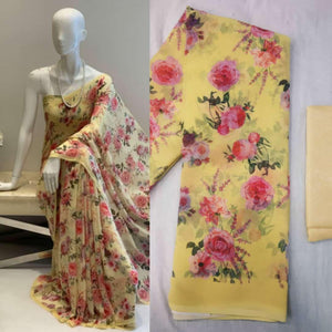 Light Yellow Soft Georgette Saree With Digital Print Work Online Shopping