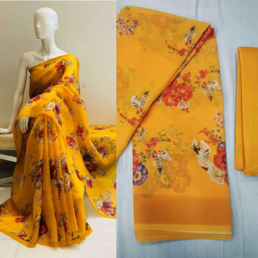Yellow Soft Georgette Saree With Digital Print Work Online Shopping