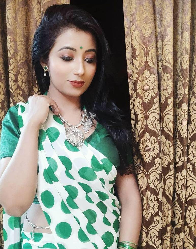Green Polka Dots Soft Georgette Saree With Digital Print Work Online Shopping