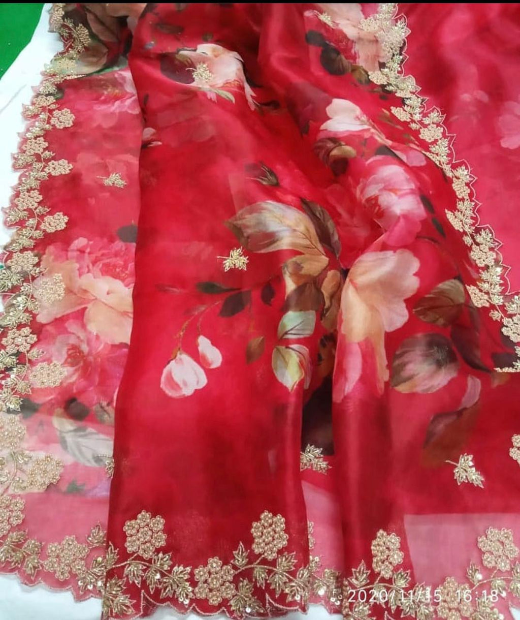 Red Pure Organza Saree With Embroidery Work Online Shopping