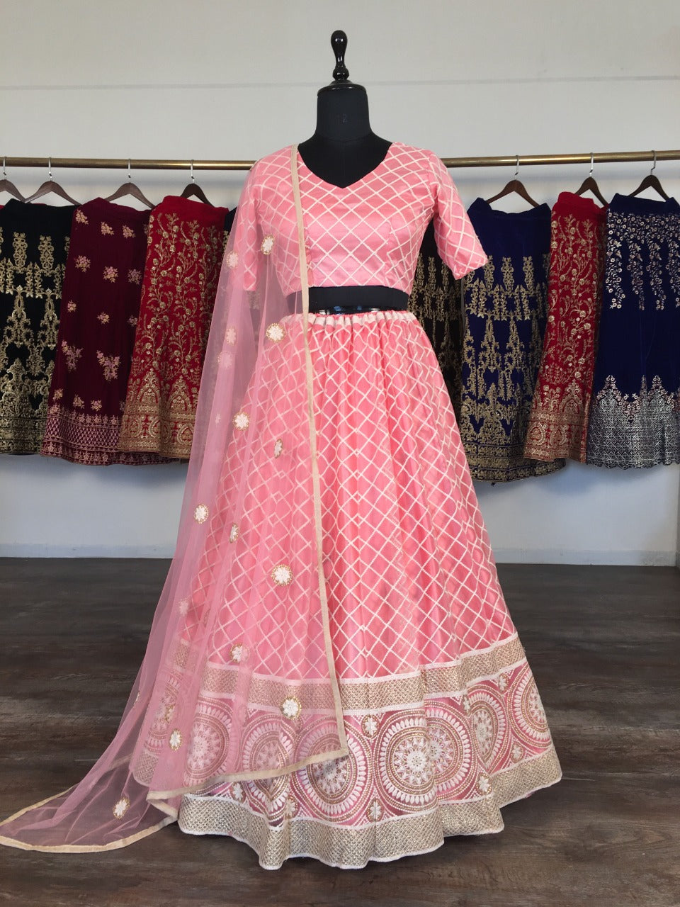 Salmon Pink Net With Lucknowi Work Embroidery Fancy Lehenga Choli Online