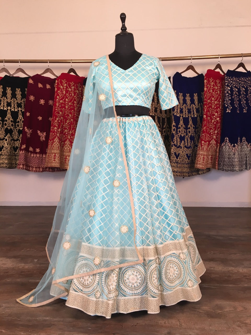Baby Blue Net With Lucknowi Work Embroidery Fancy Lehenga Choli Online