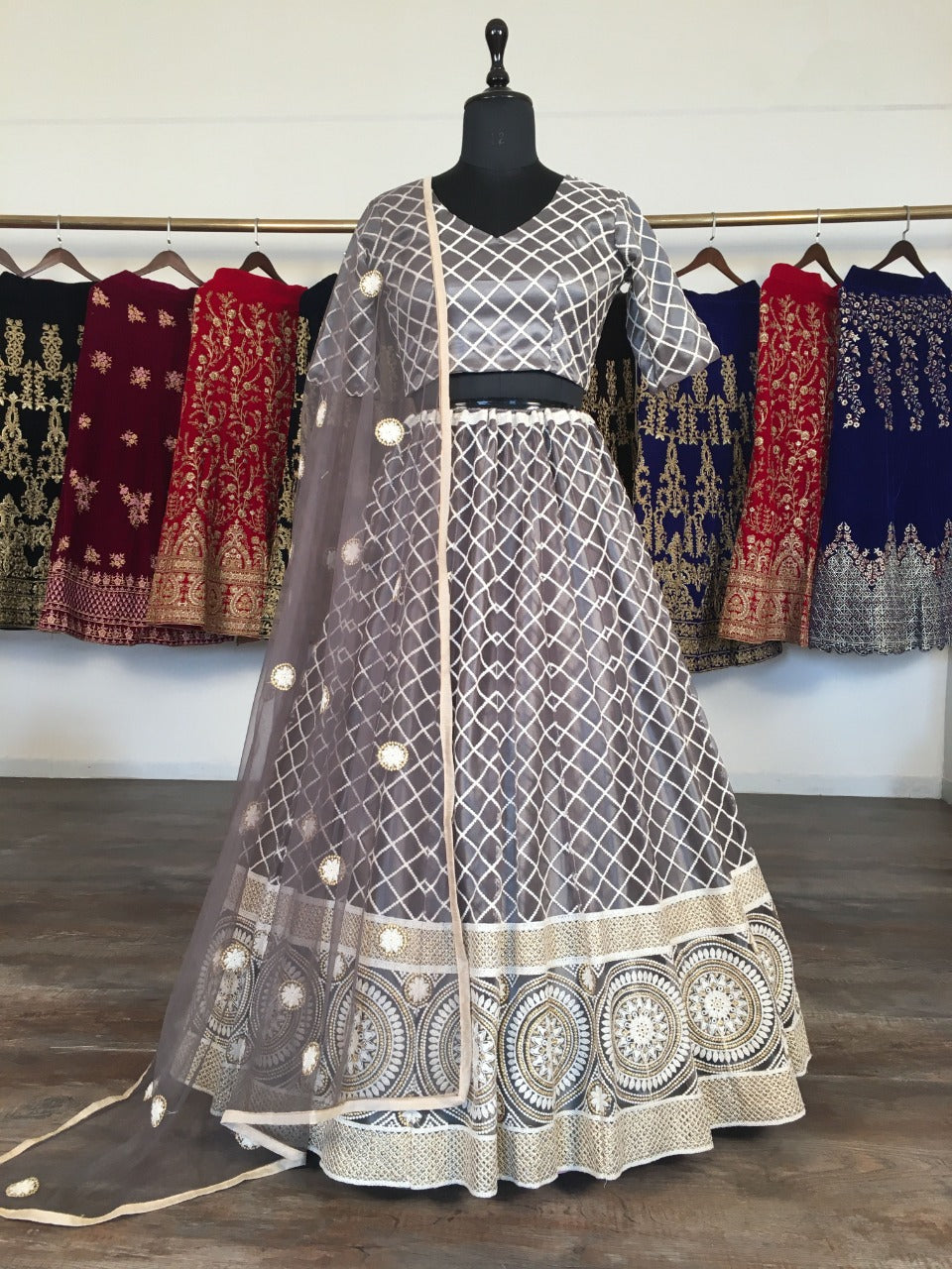 Black Net With Lucknowi Work Embroidery Fancy Lehenga Choli Online