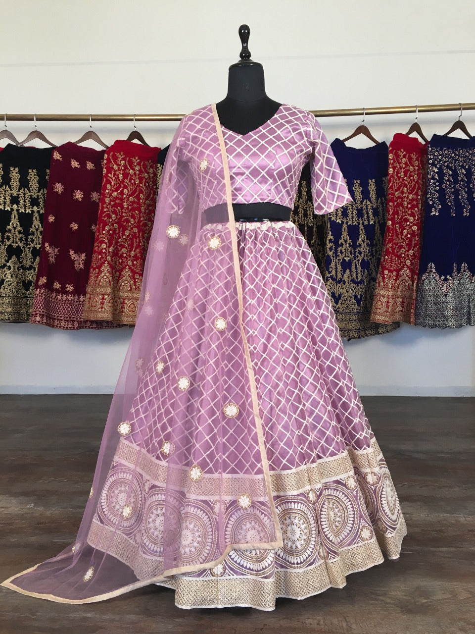 Light Purple Net With Lucknowi Work Embroidery Fancy Lehenga Choli Online