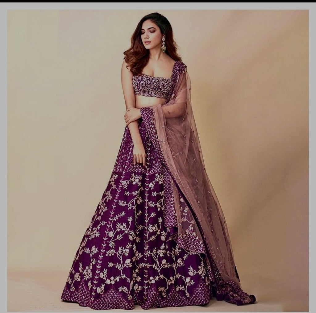 Mulberry Taffeta Silk With Heavy Embroidery Fancy Lehenga Choli Online