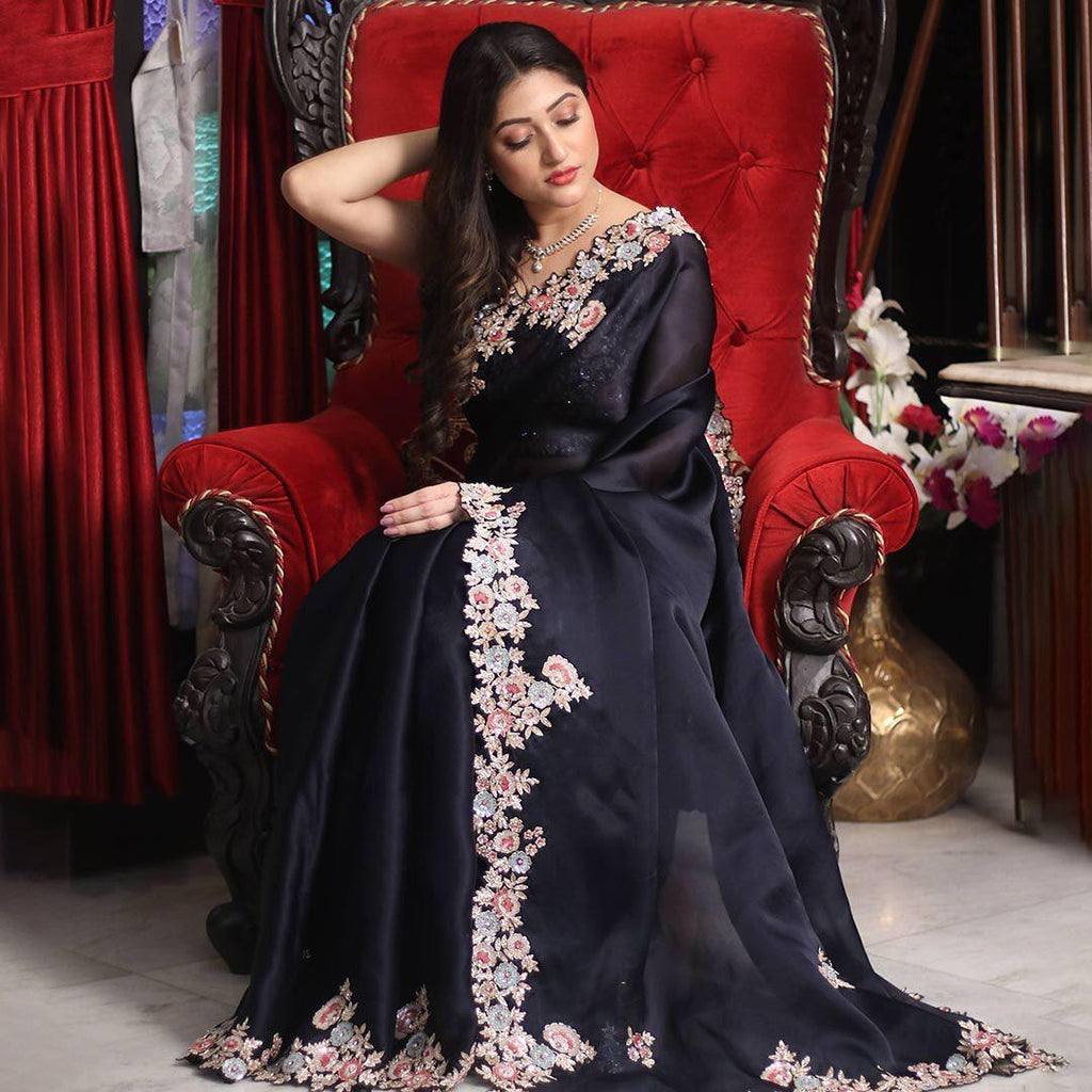 Black Georgette with Embroidery Work Saree Online Shopping