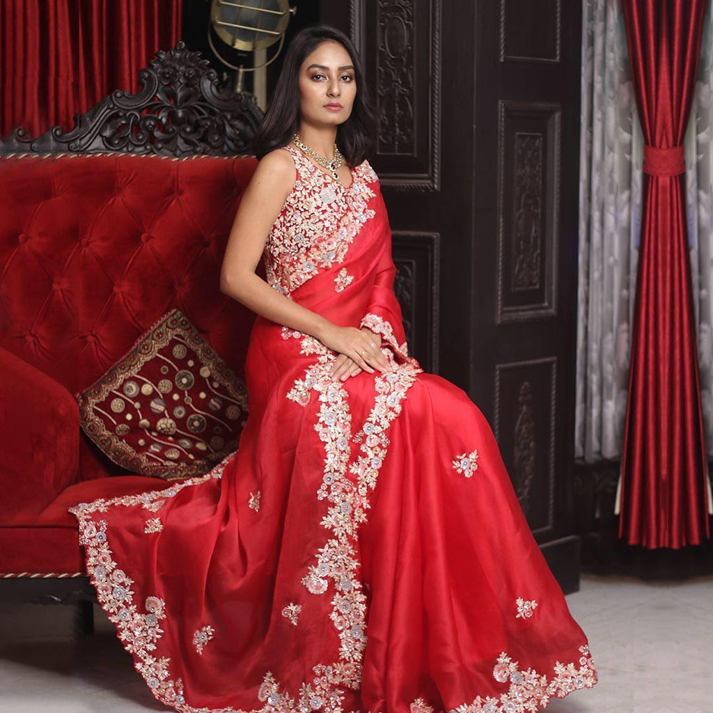 Red Georgette with Embroidery Work Saree Online Shopping