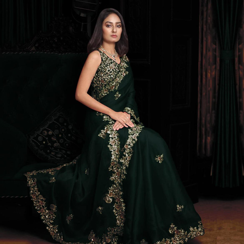 Bottle Green Georgette with Embroidery Work Saree Online Shopping
