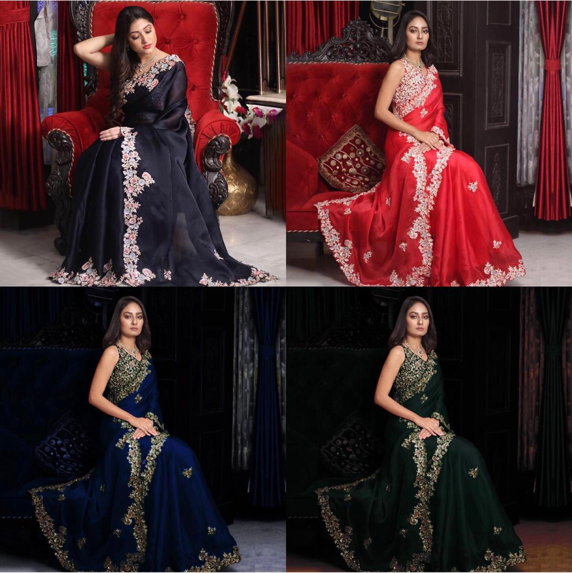Navy Blue Georgette with Embroidery Work Saree Online Shopping