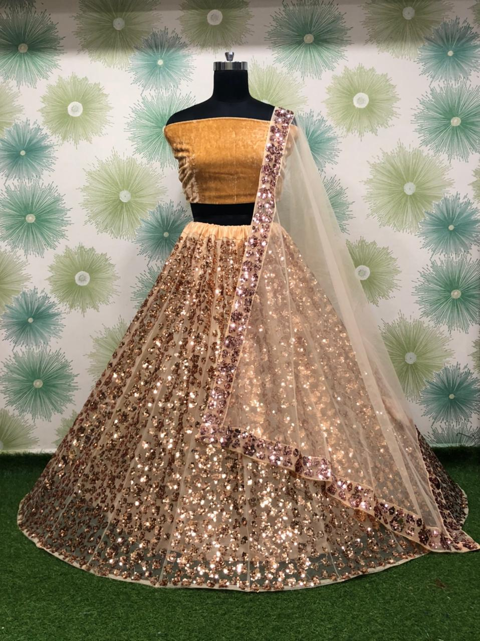 Cookie Brown Net Silk With Embroidery Sequins Fancy Lehenga Choli Online