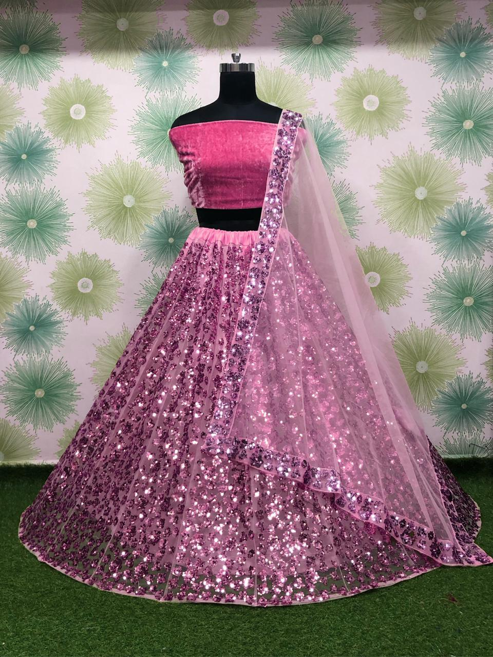 Pink Net Silk With Embroidery Sequins Fancy Lehenga Choli Online