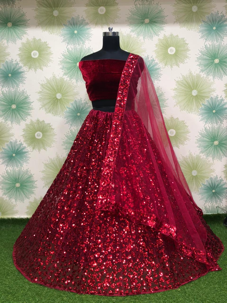 Red Net Silk With Embroidery Sequins Fancy Lehenga Choli Online